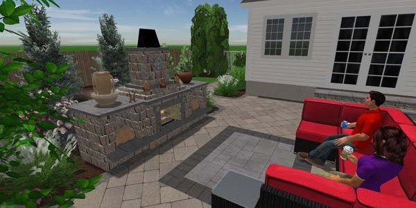 3D fireplace rendering