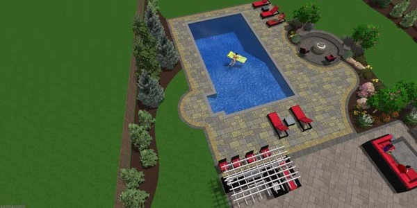 3D pool patio and firepite