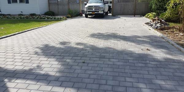 finished driveway with pavers
