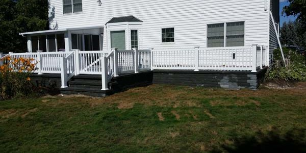 new brick and stone deck and steps