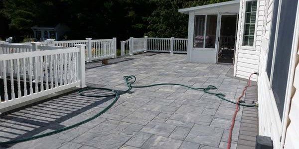 slate and brick patio installation
