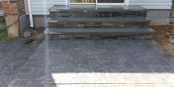 slate brick and paver steps and walkway