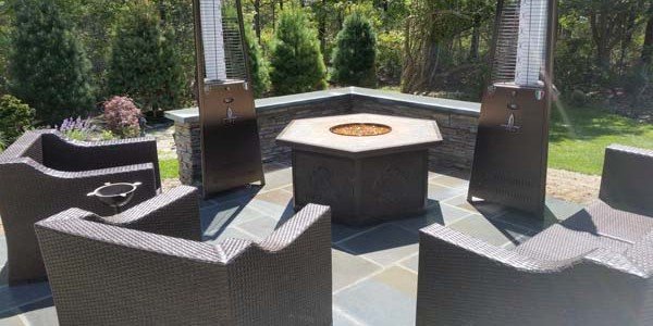 slate patio and fire pit
